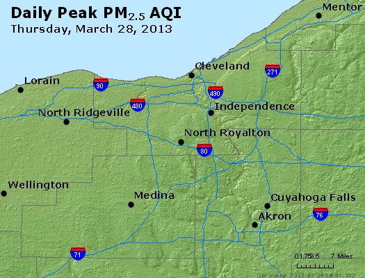 Peak Particles PM<sub>2.5</sub> (24-hour) - http://files.airnowtech.org/airnow/2013/20130328/peak_pm25_cleveland_oh.jpg