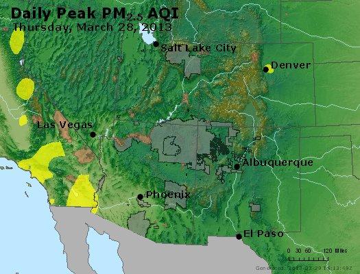 Peak Particles PM<sub>2.5</sub> (24-hour) - http://files.airnowtech.org/airnow/2013/20130328/peak_pm25_co_ut_az_nm.jpg
