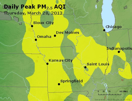 Peak Particles PM<sub>2.5</sub> (24-hour) - http://files.airnowtech.org/airnow/2013/20130328/peak_pm25_ia_il_mo.jpg