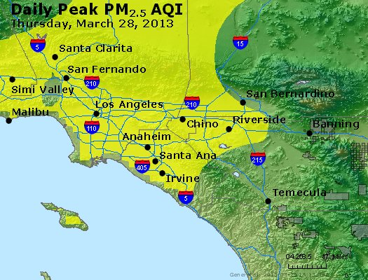 Peak Particles PM<sub>2.5</sub> (24-hour) - http://files.airnowtech.org/airnow/2013/20130328/peak_pm25_losangeles_ca.jpg