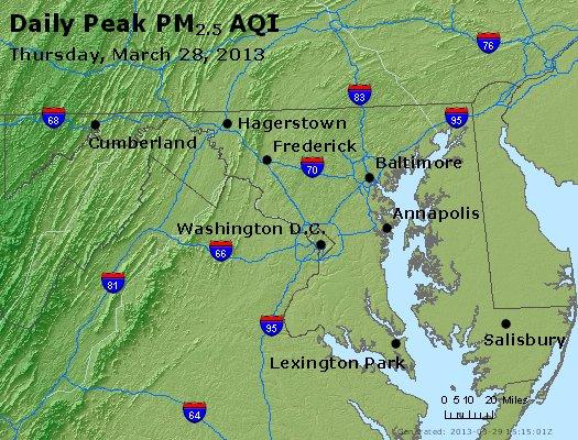 Peak Particles PM<sub>2.5</sub> (24-hour) - http://files.airnowtech.org/airnow/2013/20130328/peak_pm25_maryland.jpg