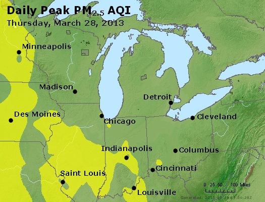 Peak Particles PM<sub>2.5</sub> (24-hour) - http://files.airnowtech.org/airnow/2013/20130328/peak_pm25_mi_in_oh.jpg