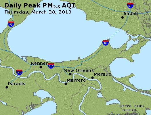 Peak Particles PM<sub>2.5</sub> (24-hour) - http://files.airnowtech.org/airnow/2013/20130328/peak_pm25_neworleans_la.jpg