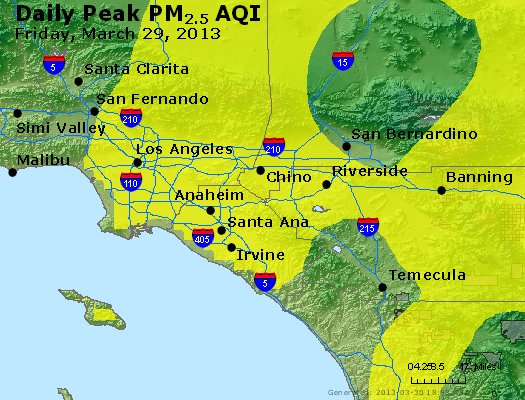 Peak Particles PM<sub>2.5</sub> (24-hour) - http://files.airnowtech.org/airnow/2013/20130329/peak_pm25_losangeles_ca.jpg