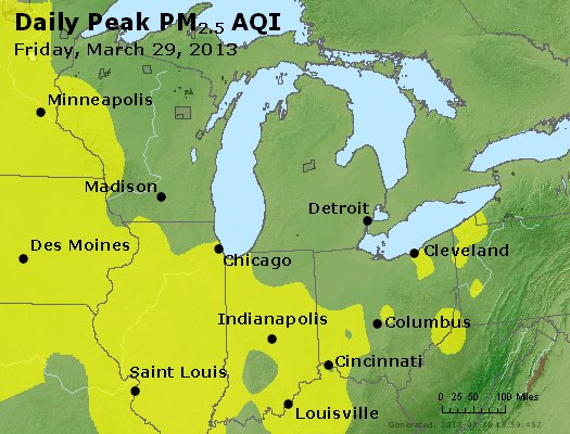 Peak Particles PM<sub>2.5</sub> (24-hour) - http://files.airnowtech.org/airnow/2013/20130329/peak_pm25_mi_in_oh.jpg
