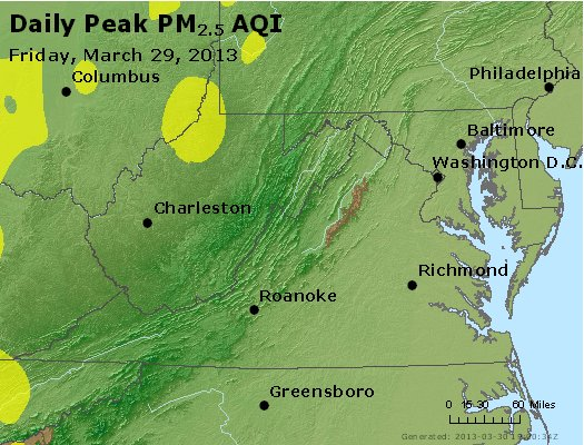 Peak Particles PM<sub>2.5</sub> (24-hour) - http://files.airnowtech.org/airnow/2013/20130329/peak_pm25_va_wv_md_de_dc.jpg