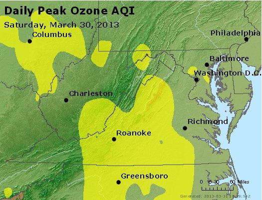 Peak Ozone (8-hour) - http://files.airnowtech.org/airnow/2013/20130330/peak_o3_va_wv_md_de_dc.jpg