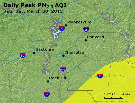 Peak Particles PM<sub>2.5</sub> (24-hour) - http://files.airnowtech.org/airnow/2013/20130330/peak_pm25_charlotte_nc.jpg