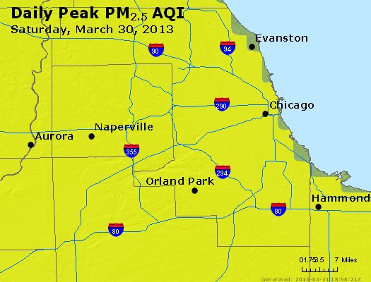 Peak Particles PM<sub>2.5</sub> (24-hour) - http://files.airnowtech.org/airnow/2013/20130330/peak_pm25_chicago_il.jpg