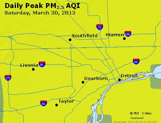 Peak Particles PM<sub>2.5</sub> (24-hour) - http://files.airnowtech.org/airnow/2013/20130330/peak_pm25_detroit_mi.jpg