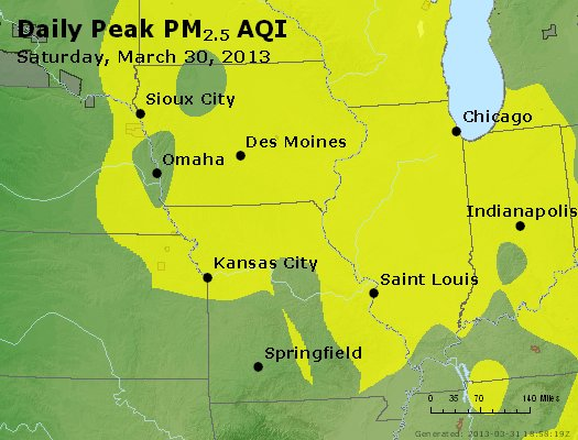 Peak Particles PM<sub>2.5</sub> (24-hour) - http://files.airnowtech.org/airnow/2013/20130330/peak_pm25_ia_il_mo.jpg