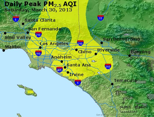 Peak Particles PM<sub>2.5</sub> (24-hour) - http://files.airnowtech.org/airnow/2013/20130330/peak_pm25_losangeles_ca.jpg