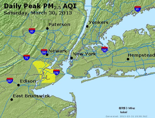 Peak Particles PM<sub>2.5</sub> (24-hour) - http://files.airnowtech.org/airnow/2013/20130330/peak_pm25_newyork_ny.jpg