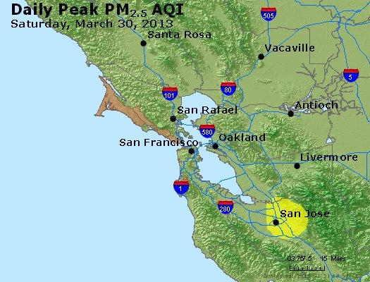 Peak Particles PM<sub>2.5</sub> (24-hour) - http://files.airnowtech.org/airnow/2013/20130330/peak_pm25_sanfrancisco_ca.jpg