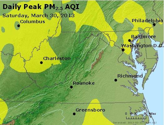 Peak Particles PM<sub>2.5</sub> (24-hour) - http://files.airnowtech.org/airnow/2013/20130330/peak_pm25_va_wv_md_de_dc.jpg