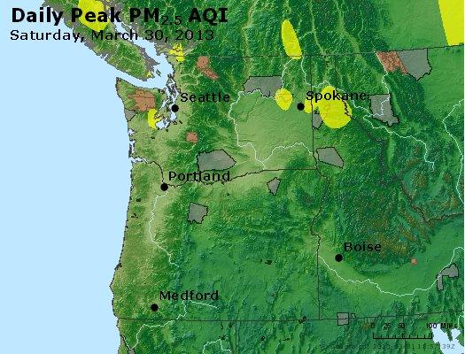 Peak Particles PM<sub>2.5</sub> (24-hour) - http://files.airnowtech.org/airnow/2013/20130330/peak_pm25_wa_or.jpg
