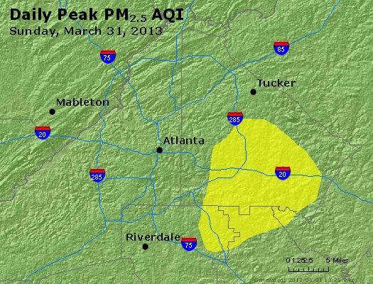 Peak Particles PM<sub>2.5</sub> (24-hour) - http://files.airnowtech.org/airnow/2013/20130331/peak_pm25_atlanta_ga.jpg