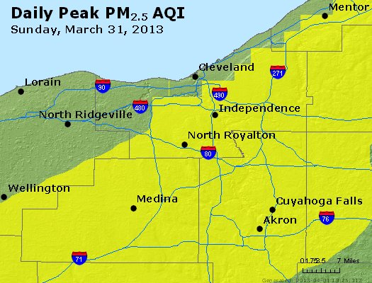Peak Particles PM<sub>2.5</sub> (24-hour) - http://files.airnowtech.org/airnow/2013/20130331/peak_pm25_cleveland_oh.jpg