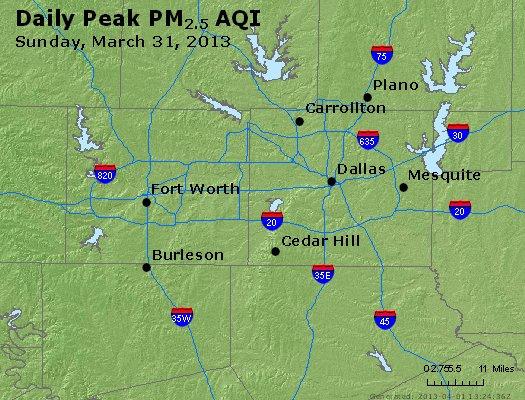 Peak Particles PM<sub>2.5</sub> (24-hour) - http://files.airnowtech.org/airnow/2013/20130331/peak_pm25_dallas_tx.jpg