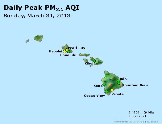 Peak Particles PM<sub>2.5</sub> (24-hour) - http://files.airnowtech.org/airnow/2013/20130331/peak_pm25_hawaii.jpg