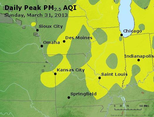 Peak Particles PM<sub>2.5</sub> (24-hour) - http://files.airnowtech.org/airnow/2013/20130331/peak_pm25_ia_il_mo.jpg