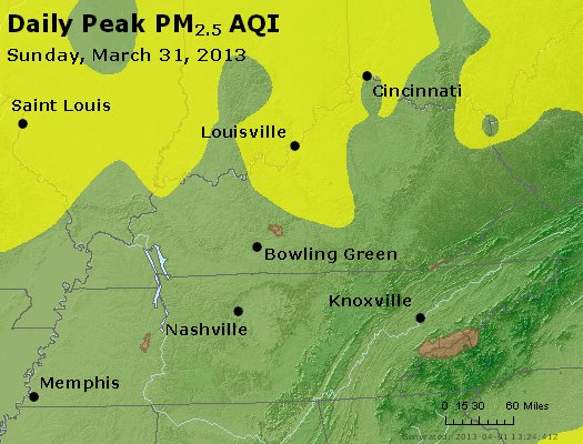 Peak Particles PM<sub>2.5</sub> (24-hour) - http://files.airnowtech.org/airnow/2013/20130331/peak_pm25_ky_tn.jpg