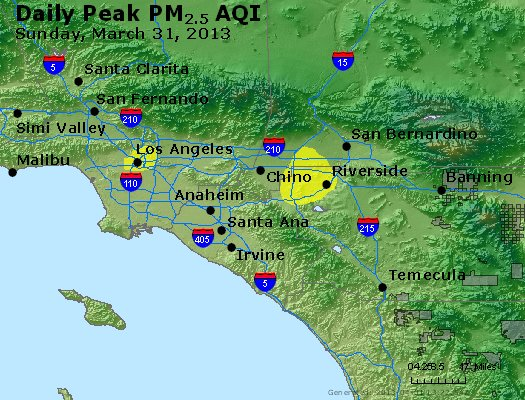 Peak Particles PM<sub>2.5</sub> (24-hour) - http://files.airnowtech.org/airnow/2013/20130331/peak_pm25_losangeles_ca.jpg