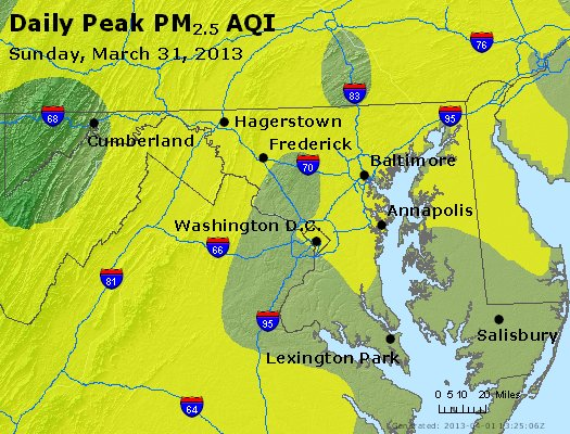 Peak Particles PM<sub>2.5</sub> (24-hour) - http://files.airnowtech.org/airnow/2013/20130331/peak_pm25_maryland.jpg
