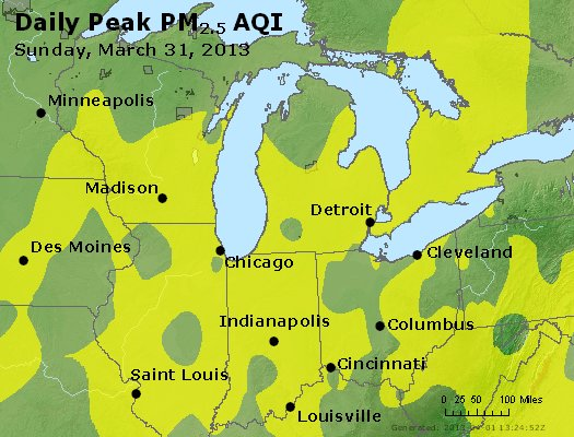 Peak Particles PM<sub>2.5</sub> (24-hour) - http://files.airnowtech.org/airnow/2013/20130331/peak_pm25_mi_in_oh.jpg