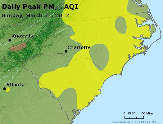 Peak Particles PM<sub>2.5</sub> (24-hour) - http://files.airnowtech.org/airnow/2013/20130331/peak_pm25_nc_sc.jpg