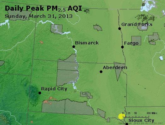 Peak Particles PM<sub>2.5</sub> (24-hour) - http://files.airnowtech.org/airnow/2013/20130331/peak_pm25_nd_sd.jpg