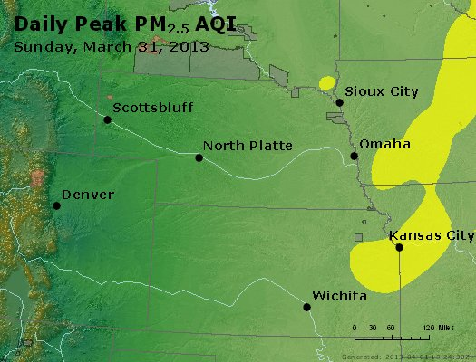 Peak Particles PM<sub>2.5</sub> (24-hour) - http://files.airnowtech.org/airnow/2013/20130331/peak_pm25_ne_ks.jpg