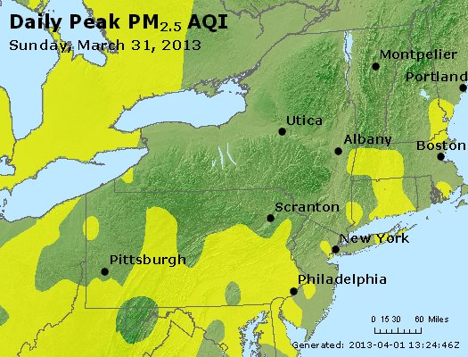 Peak Particles PM<sub>2.5</sub> (24-hour) - http://files.airnowtech.org/airnow/2013/20130331/peak_pm25_ny_pa_nj.jpg