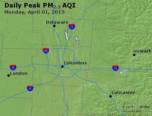 Peak Particles PM<sub>2.5</sub> (24-hour) - http://files.airnowtech.org/airnow/2013/20130401/peak_pm25_columbus_oh.jpg