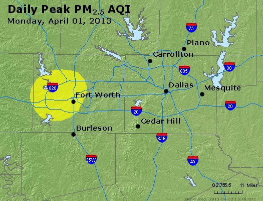 Peak Particles PM<sub>2.5</sub> (24-hour) - http://files.airnowtech.org/airnow/2013/20130401/peak_pm25_dallas_tx.jpg