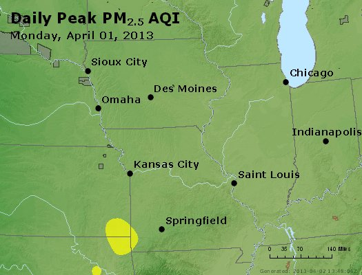 Peak Particles PM<sub>2.5</sub> (24-hour) - http://files.airnowtech.org/airnow/2013/20130401/peak_pm25_ia_il_mo.jpg