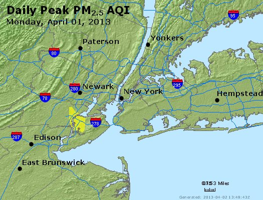 Peak Particles PM<sub>2.5</sub> (24-hour) - http://files.airnowtech.org/airnow/2013/20130401/peak_pm25_newyork_ny.jpg