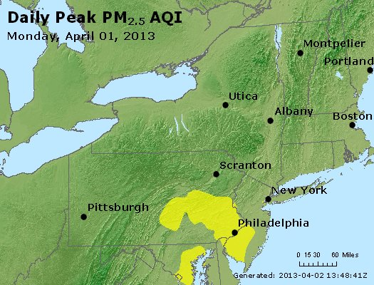 Peak Particles PM<sub>2.5</sub> (24-hour) - http://files.airnowtech.org/airnow/2013/20130401/peak_pm25_ny_pa_nj.jpg