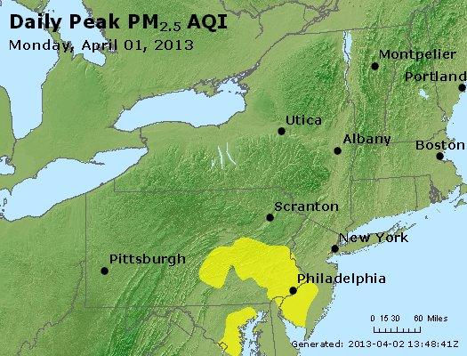 Peak Particles PM<sub>2.5</sub> (24-hour) - http://files.airnowtech.org/airnow/2013/20130401/peak_pm25_ny_pa_nj.jpg