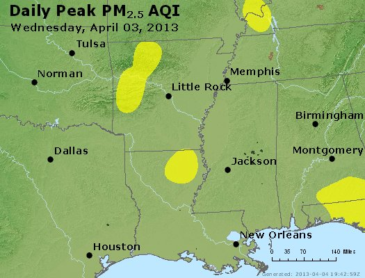 Peak Particles PM<sub>2.5</sub> (24-hour) - http://files.airnowtech.org/airnow/2013/20130403/peak_pm25_ar_la_ms.jpg