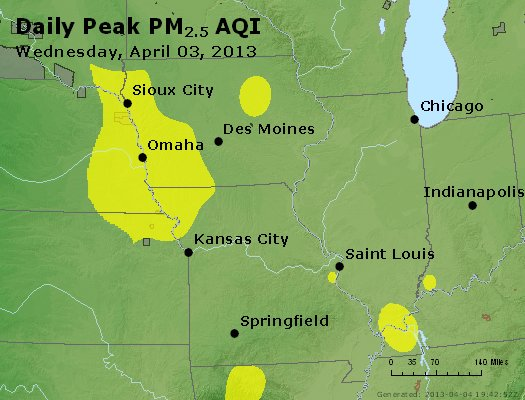 Peak Particles PM<sub>2.5</sub> (24-hour) - http://files.airnowtech.org/airnow/2013/20130403/peak_pm25_ia_il_mo.jpg