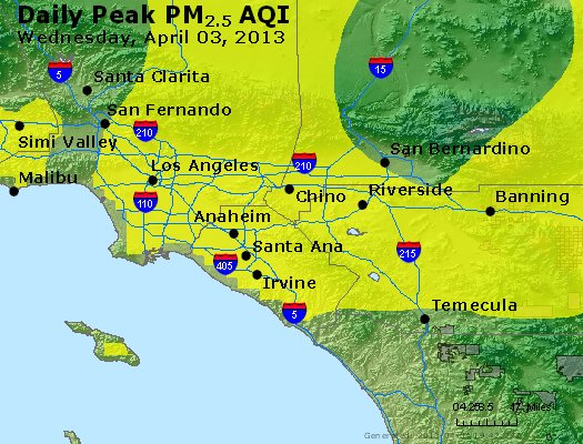 Peak Particles PM<sub>2.5</sub> (24-hour) - http://files.airnowtech.org/airnow/2013/20130403/peak_pm25_losangeles_ca.jpg