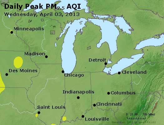 Peak Particles PM<sub>2.5</sub> (24-hour) - http://files.airnowtech.org/airnow/2013/20130403/peak_pm25_mi_in_oh.jpg