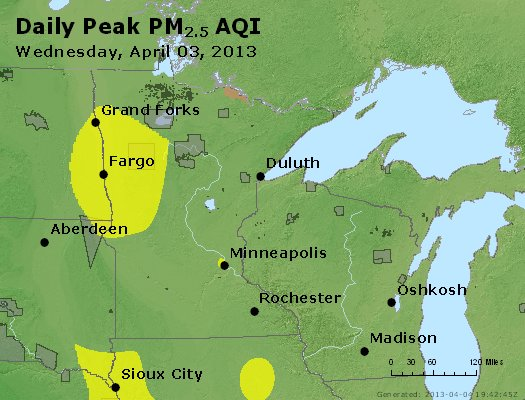 Peak Particles PM<sub>2.5</sub> (24-hour) - http://files.airnowtech.org/airnow/2013/20130403/peak_pm25_mn_wi.jpg