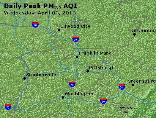 Peak Particles PM<sub>2.5</sub> (24-hour) - http://files.airnowtech.org/airnow/2013/20130403/peak_pm25_pittsburgh_pa.jpg