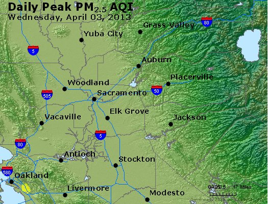 Peak Particles PM<sub>2.5</sub> (24-hour) - http://files.airnowtech.org/airnow/2013/20130403/peak_pm25_sacramento_ca.jpg