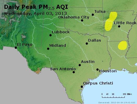 Peak Particles PM<sub>2.5</sub> (24-hour) - http://files.airnowtech.org/airnow/2013/20130403/peak_pm25_tx_ok.jpg