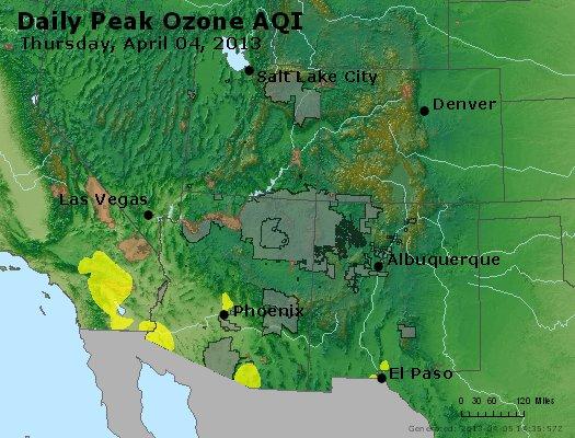 Peak Ozone (8-hour) - http://files.airnowtech.org/airnow/2013/20130404/peak_o3_co_ut_az_nm.jpg