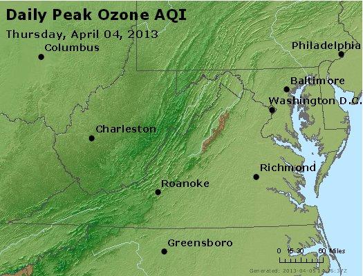 Peak Ozone (8-hour) - http://files.airnowtech.org/airnow/2013/20130404/peak_o3_va_wv_md_de_dc.jpg