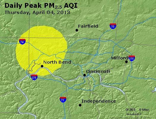 Peak Particles PM<sub>2.5</sub> (24-hour) - http://files.airnowtech.org/airnow/2013/20130404/peak_pm25_cincinnati_oh.jpg